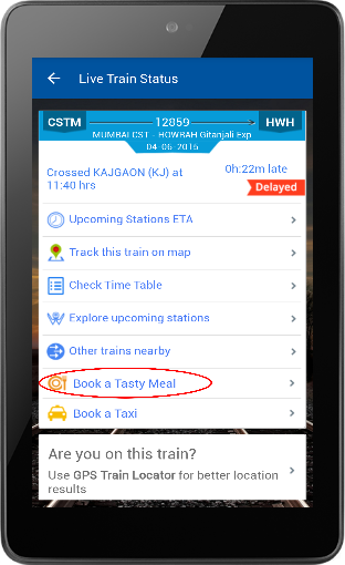 Food Ordering using RailYatri 03