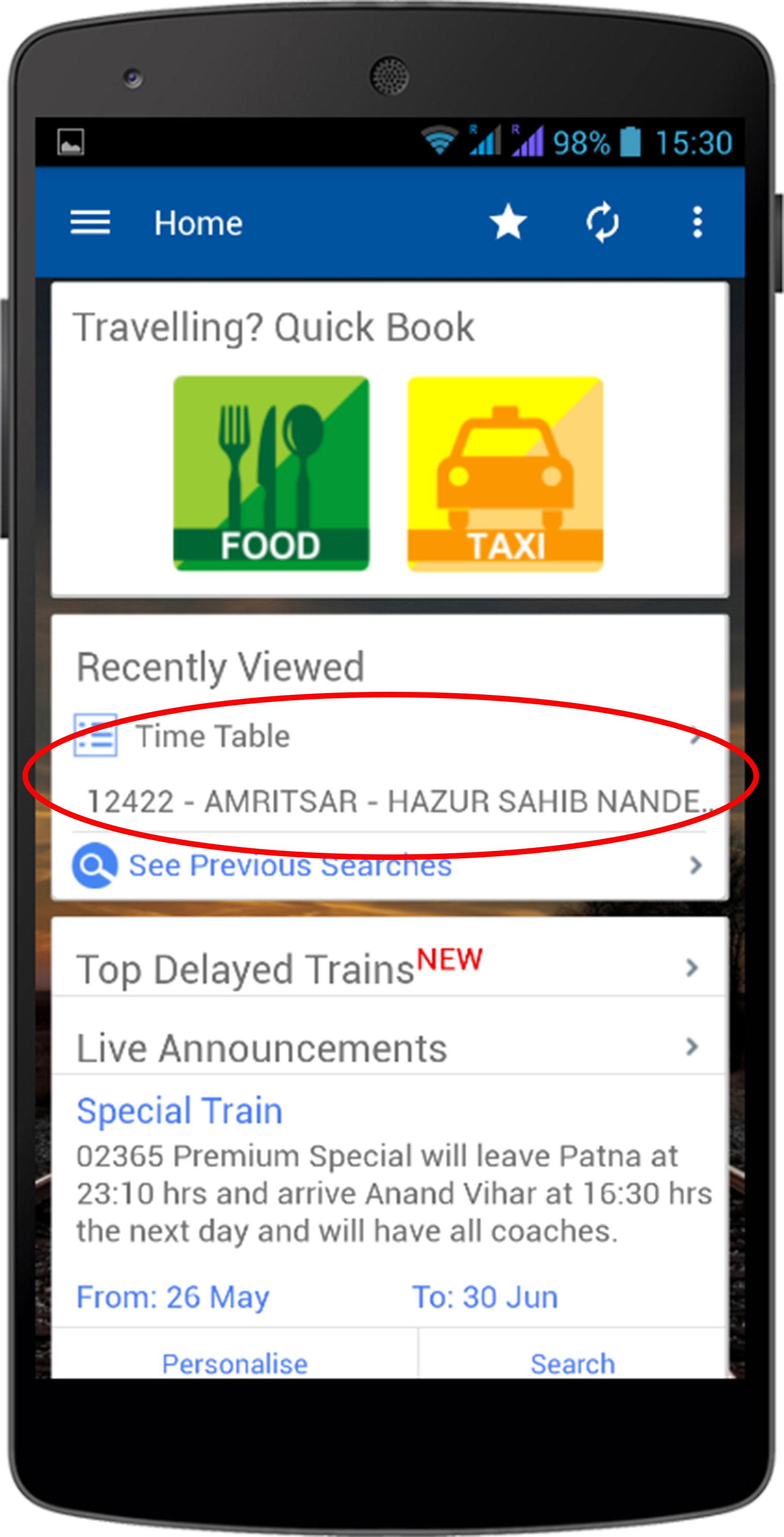 Offline Time Table on Home Screen