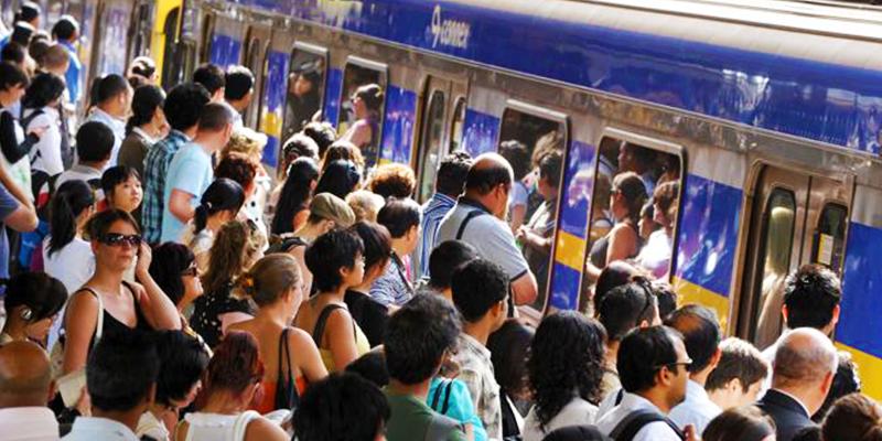 Austrailia train rush