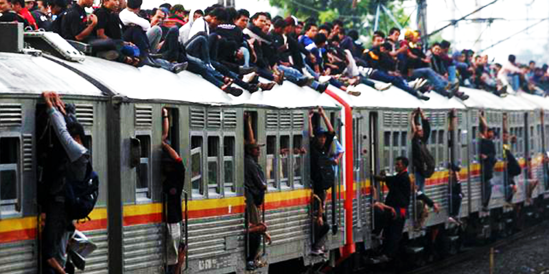 Indonesia train rush