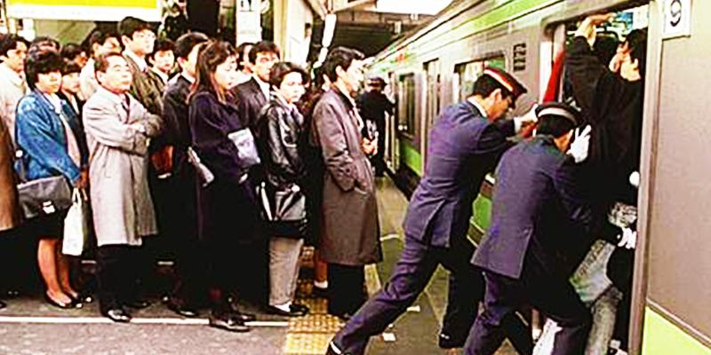 Japan train rush
