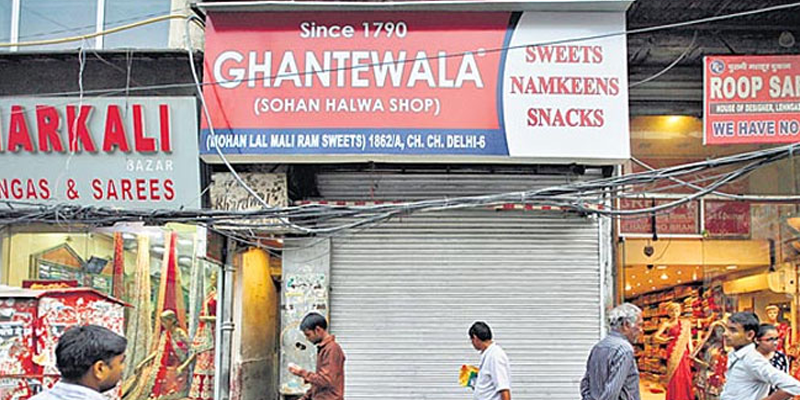 Closed shutters of the famous Ghantewala shop.