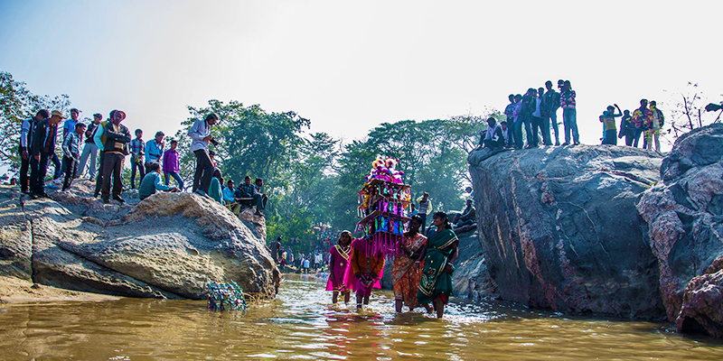 celebration of tusu festival in rural area of jharkhand, west bangal and orissa