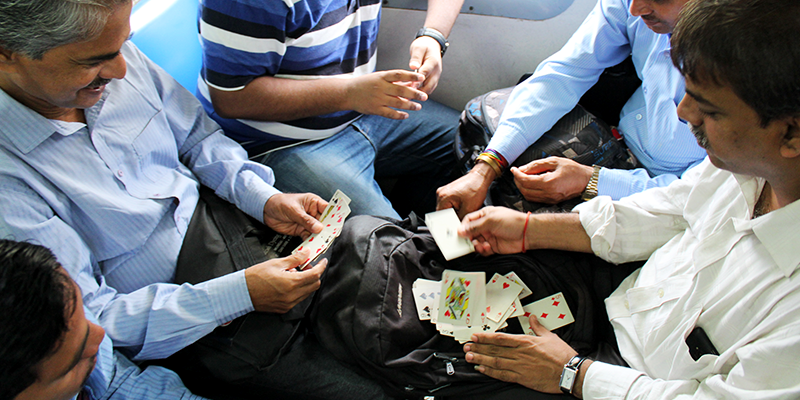 Playing Cards Inside Mumbai Local