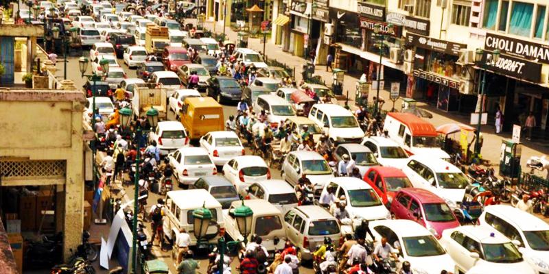 Traffic jam in lucknow
