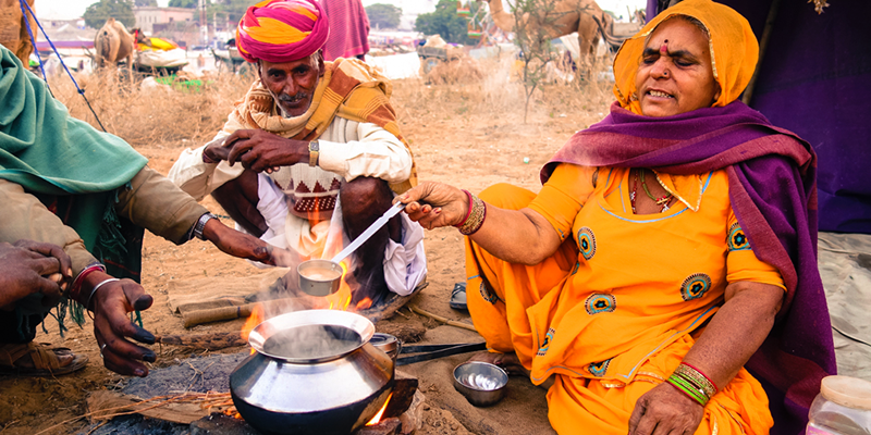 camel's milk tea in rajasthan