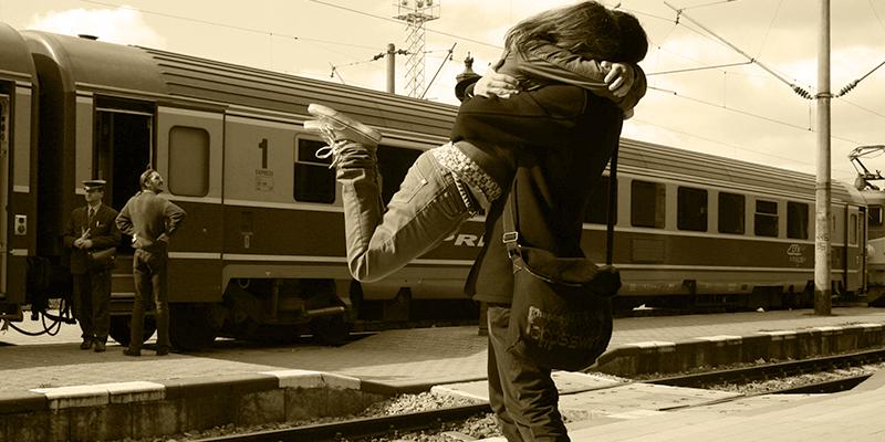 romantic couples on train