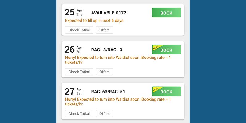 RailYatri Booking Rate